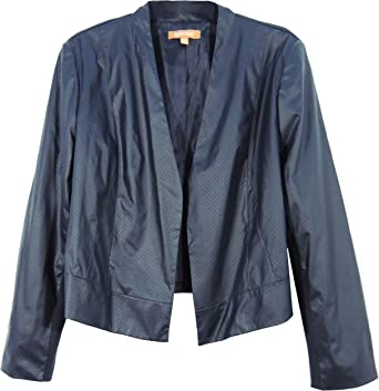 Ellen Tracy Womens Perforated Faux Wrap Jacket Navy Blue