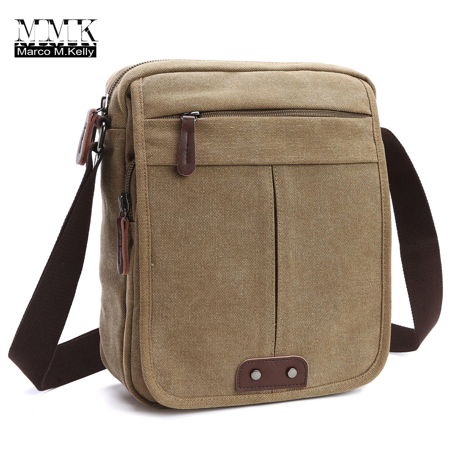Canvas Leather Messenger Purse Shoulder Bag~Lightweight Crossbody Bag~Book bag ~Functional Multi Vintage Lightweight Casual Shoulder Bag Travel Organizer Bag Multi-pocket Working Bag (MG-8842 Kachi)