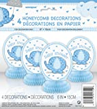 Baby Shower Umbrellaphants Blue Honeycomb Decorations - Pack of 4