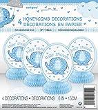 Baby Shower Umbrellaphants Blue Honeycomb Decorations - Pack of 4
