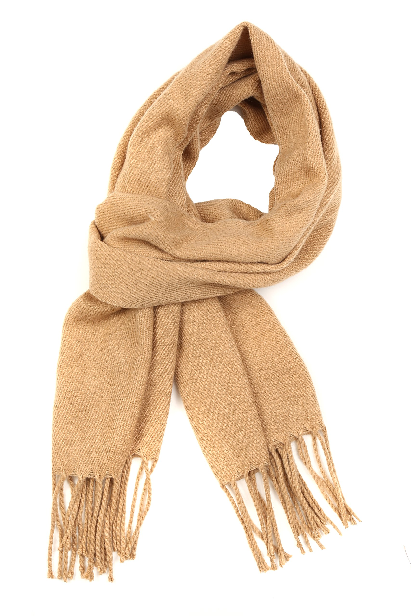 Sakkas 1590 - Booker Cashmere Feel Solid Colored Unisex Winter Scarf With Fringe - Camel - OS