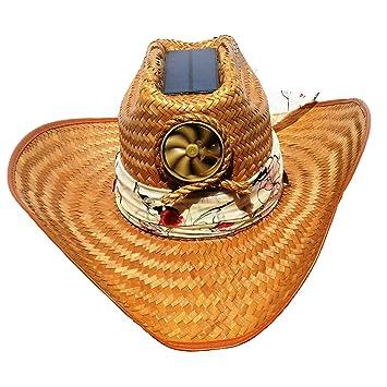 96ee685eae7 Amazon.com  Kool Breeze Solar Hat Female Palm Leaf Cowboy Hat W ...