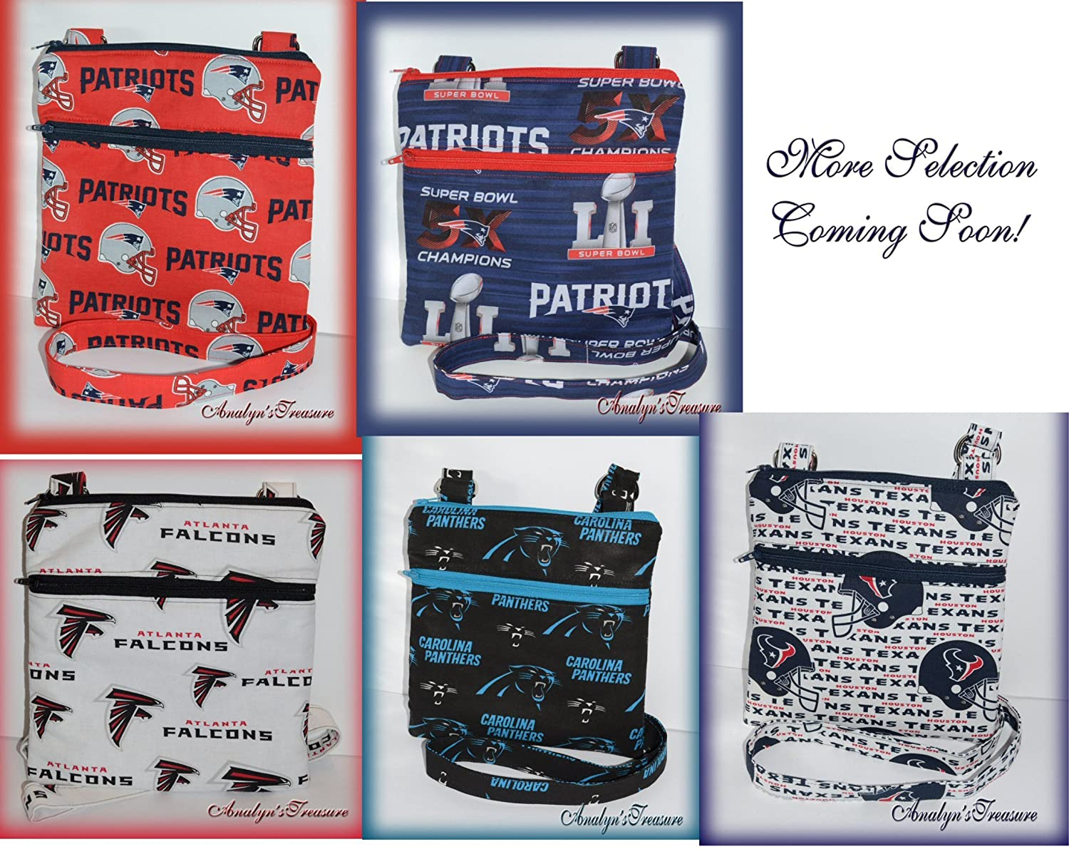NFL Handmade Quilted Crossbody Bag, Falcons, Patriots, Panthers, Dallas, Cowboys, Quilted Bag, Travel Bag, Passport Bag, Choose Other Theme