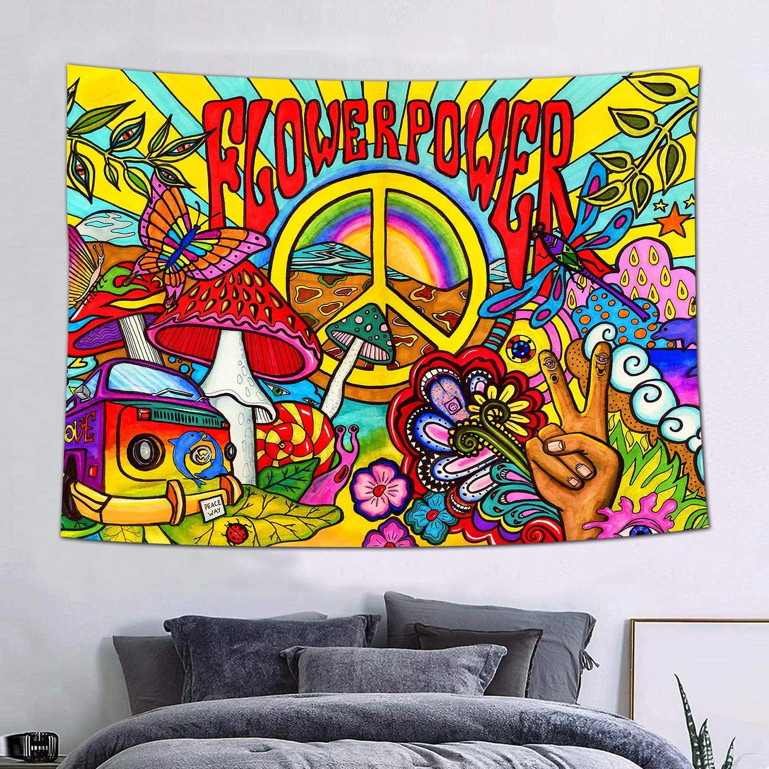 FEASRT Groovy Tapestry Peace and Love Hippie Tapestries Art Wall Hanging for Living Room Bedroom Home Dorm Decor 60×40 Inches GTZYAY336