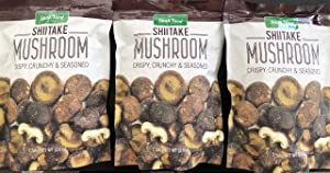 The Snak Yard Shiitake Mushroom 7.5 Oz Crispy Crunchy & Seasoned (Three Pack)