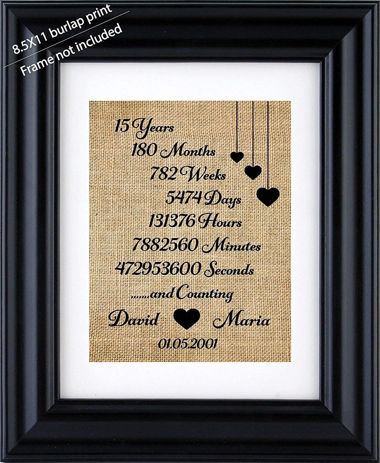 30th Wedding Anniversary Gift.15th Anniversary Gifts Personalized Anniversary Burlap Print For 1st 5th 10th 20th 15th 25th 30th Wedding Anniversary Wedding Anniversary Gift For