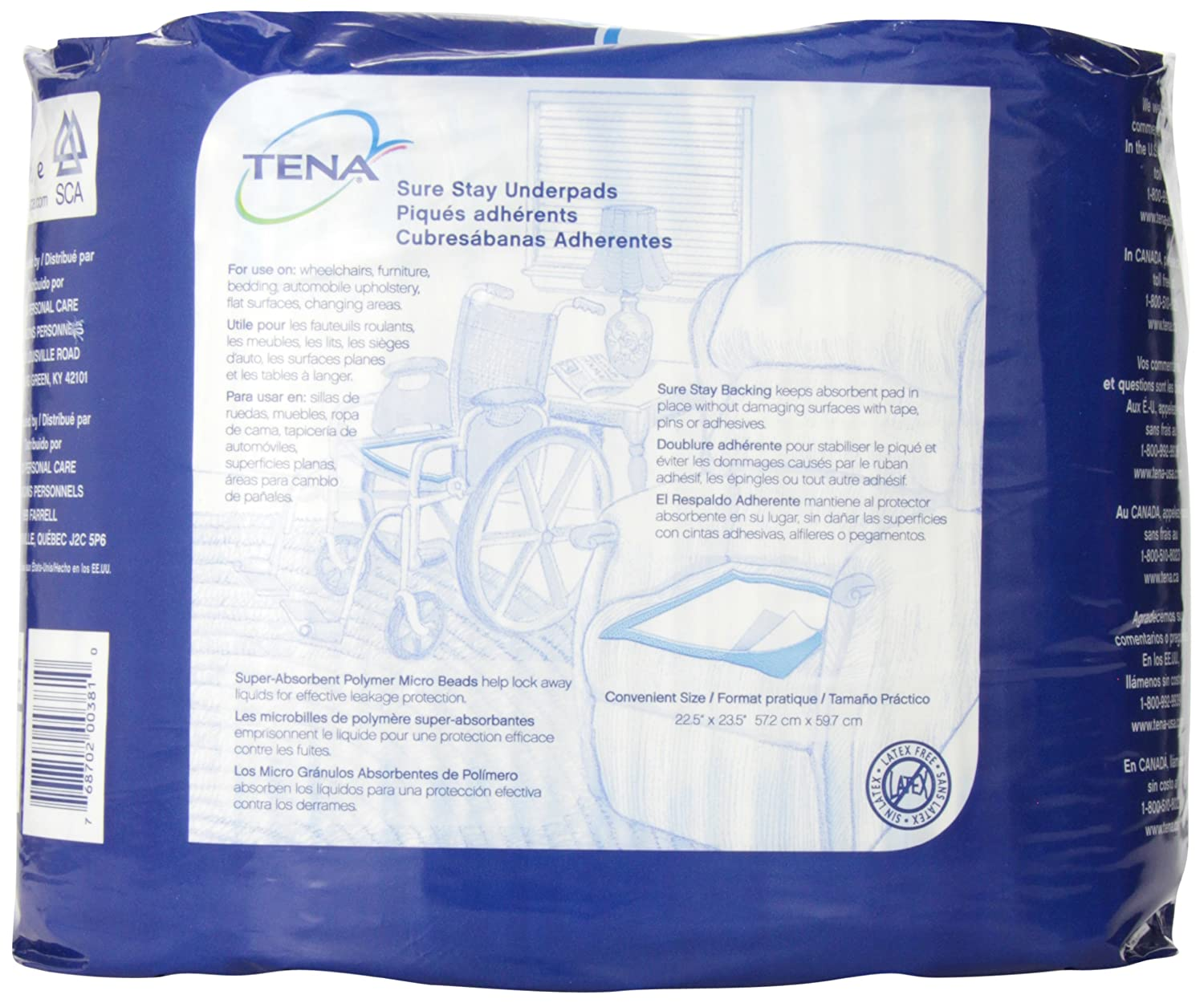 Amazon.com: Tena Sure Stay Underpads, 22.5