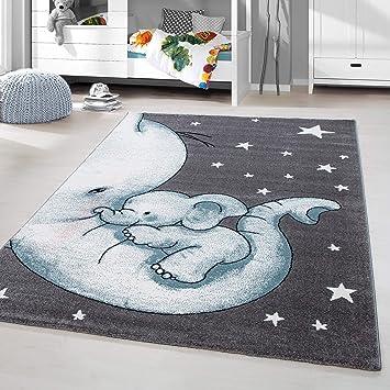 HomebyHome Kinderteppich Kurzflor Elephant Kinderzimmer Babyzimmer ...