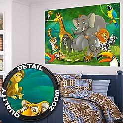 Great art Kinderzimmer Poster Dschungel Natur Safari Tierpark  (140 x 100 cm)
