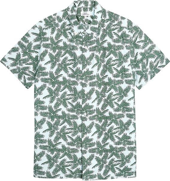 next Hombre Camisa De Mangas Cortas con Estampado De Palmeras Verde XS: Amazon.es: Ropa y accesorios