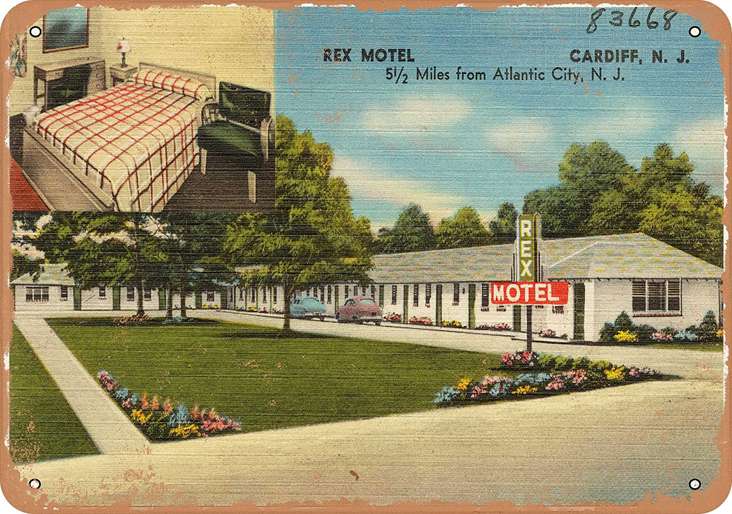 Wall-Color 10 x 14 Metal Sign - New Jersey Postcard - Rex Motel, Cardiff, N.J, 5 1 2 Miles from Atlantic City, N.J. - Vintage Rusty Look