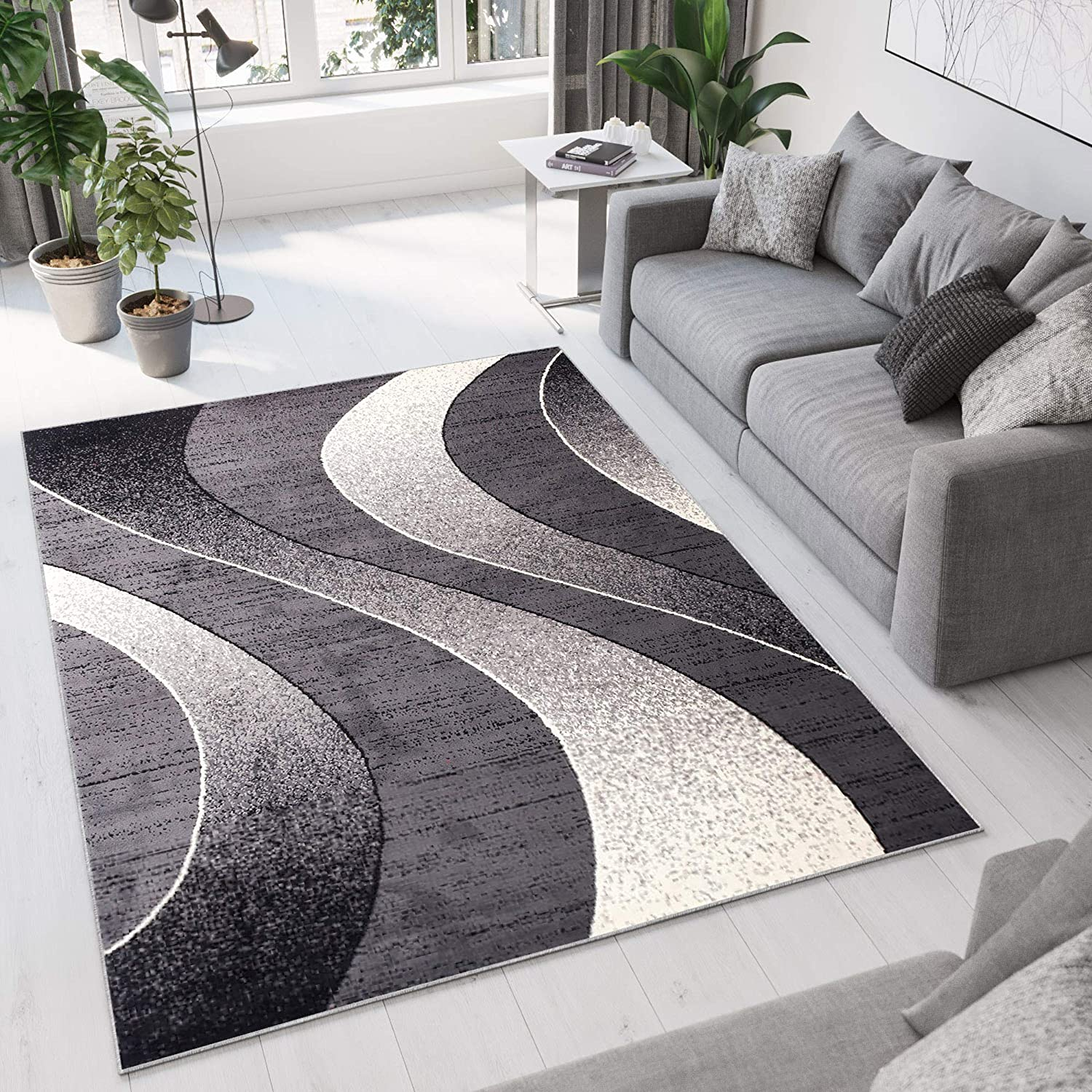 Tapiso Area Rugs Living Room Bedroom Modern Dark Grey Waves Contemporary  Pattern Durable Carpet Dream Collection Size - 160 x 220 cm (5ft3 x 7ft3)