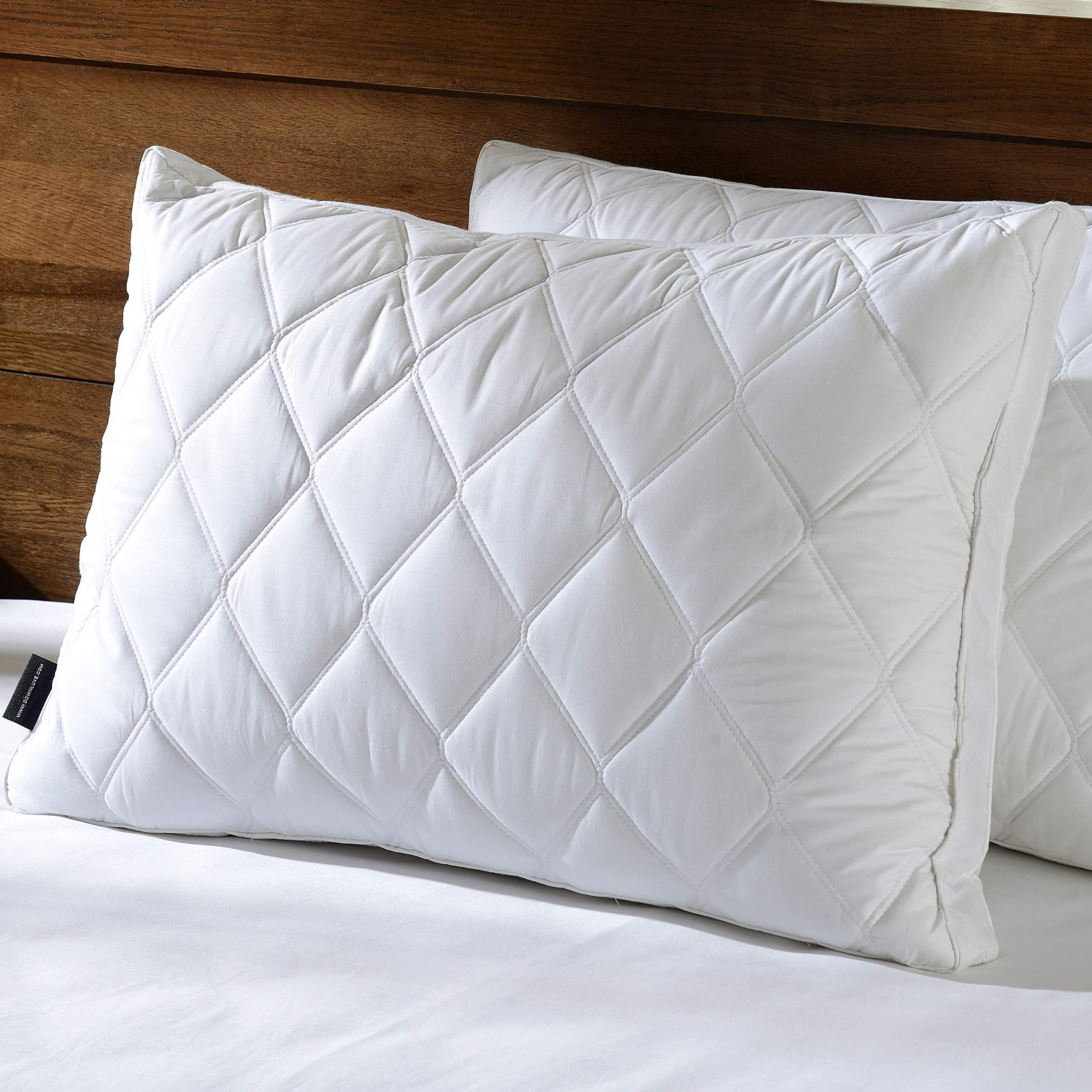 downluxe Set of 2 Quilted Down Feather Gusseted Pillows for Sleeping(Queen) 100% Cotton Downproof Cover Suprior Quality Bed Pillows by downluxe