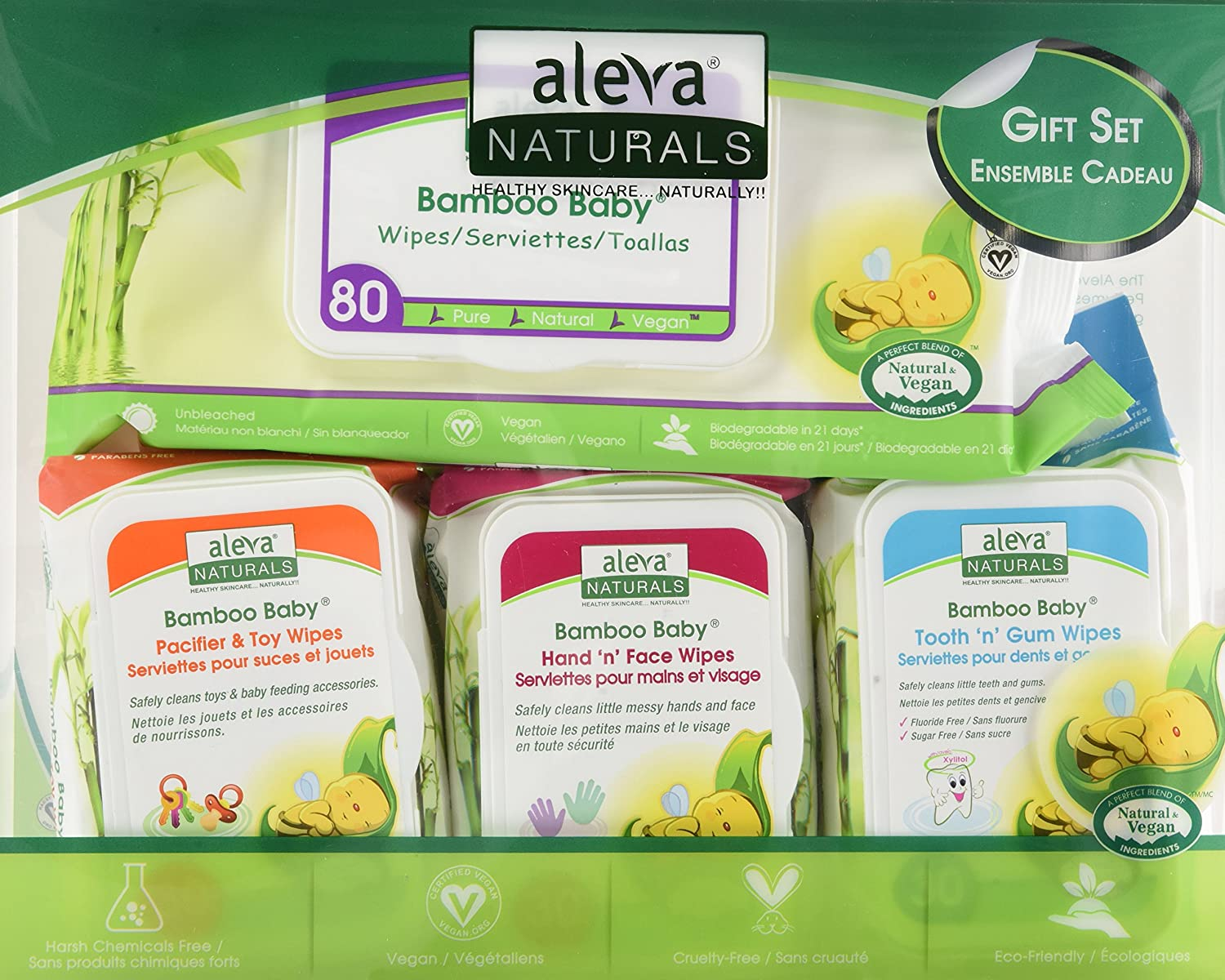 Aleva Naturals Bamboo Baby Gift Set wipes gift set