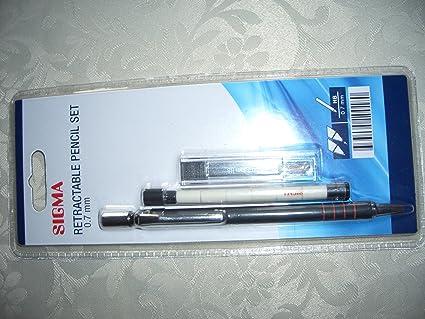 Sigma Retractable Pencil Set 0.5 mm 12 lead refills and 6 erasers