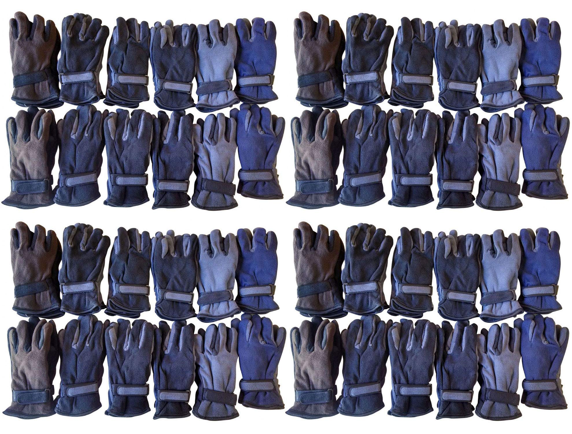 Yacht & Smith 48 Pairs Mens Womens Value Pack of Unisex Warm Winter Fleece Gloves Many Colors One Size (Assorted)