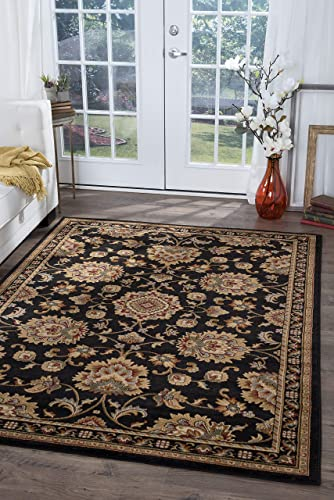 Tayse Charlotte Black 9×12 Rectangle Area Rug for Living, Bedroom, or Dining Room – Traditional, Border