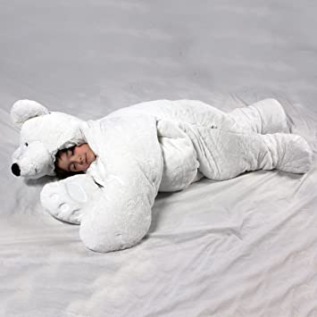 SnooZzoo Polar Bear Childrens Stuffed Animal Sleeping Bag GIANT 60 Inches Tall