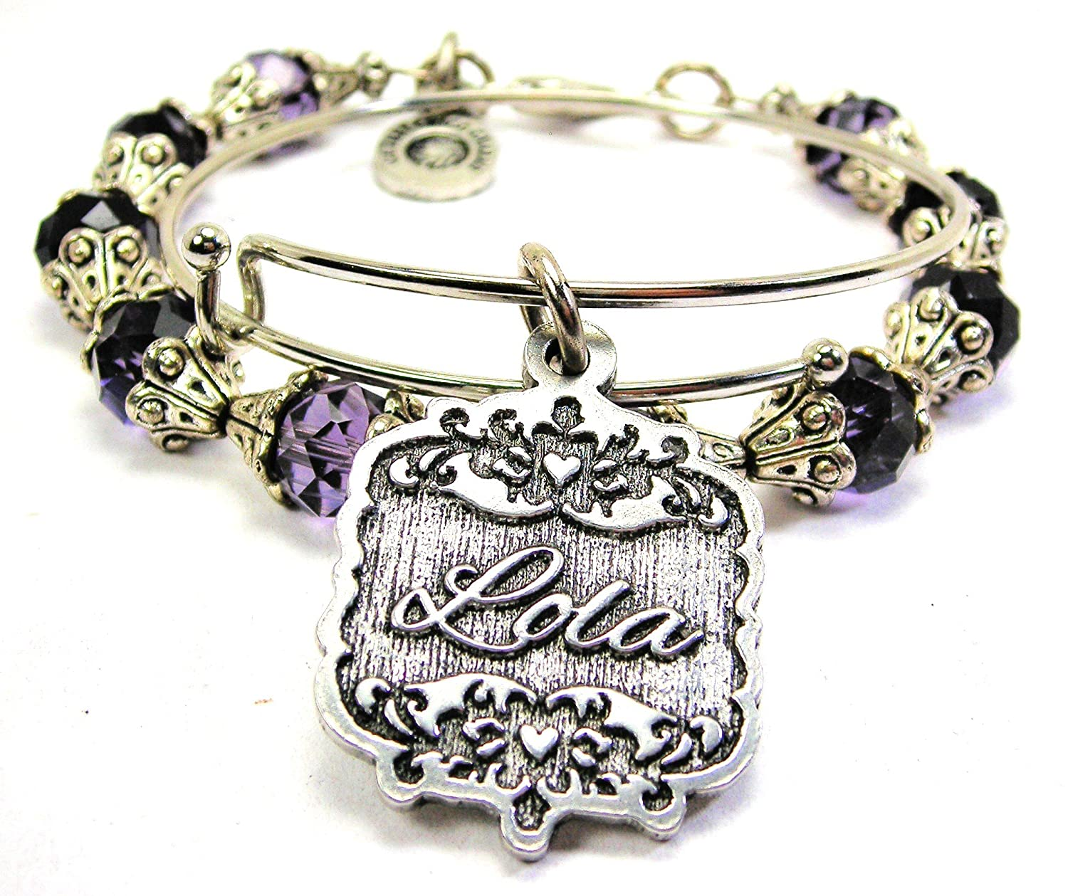 Chubby Chico Charms Lola Victorian Scroll Capped Crystal Bracelet in Plum Purple