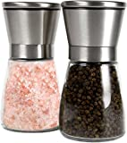 GM Kitchen Premium Brushed Stainless Steel Salt & Pepper Grinder with Adjustable Coarseness, Set of 2
