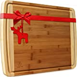 Extra Large Bamboo Cutting Boards for Kitchen with Juice Groove - 17.5 x 13.5 x 0.75 inch