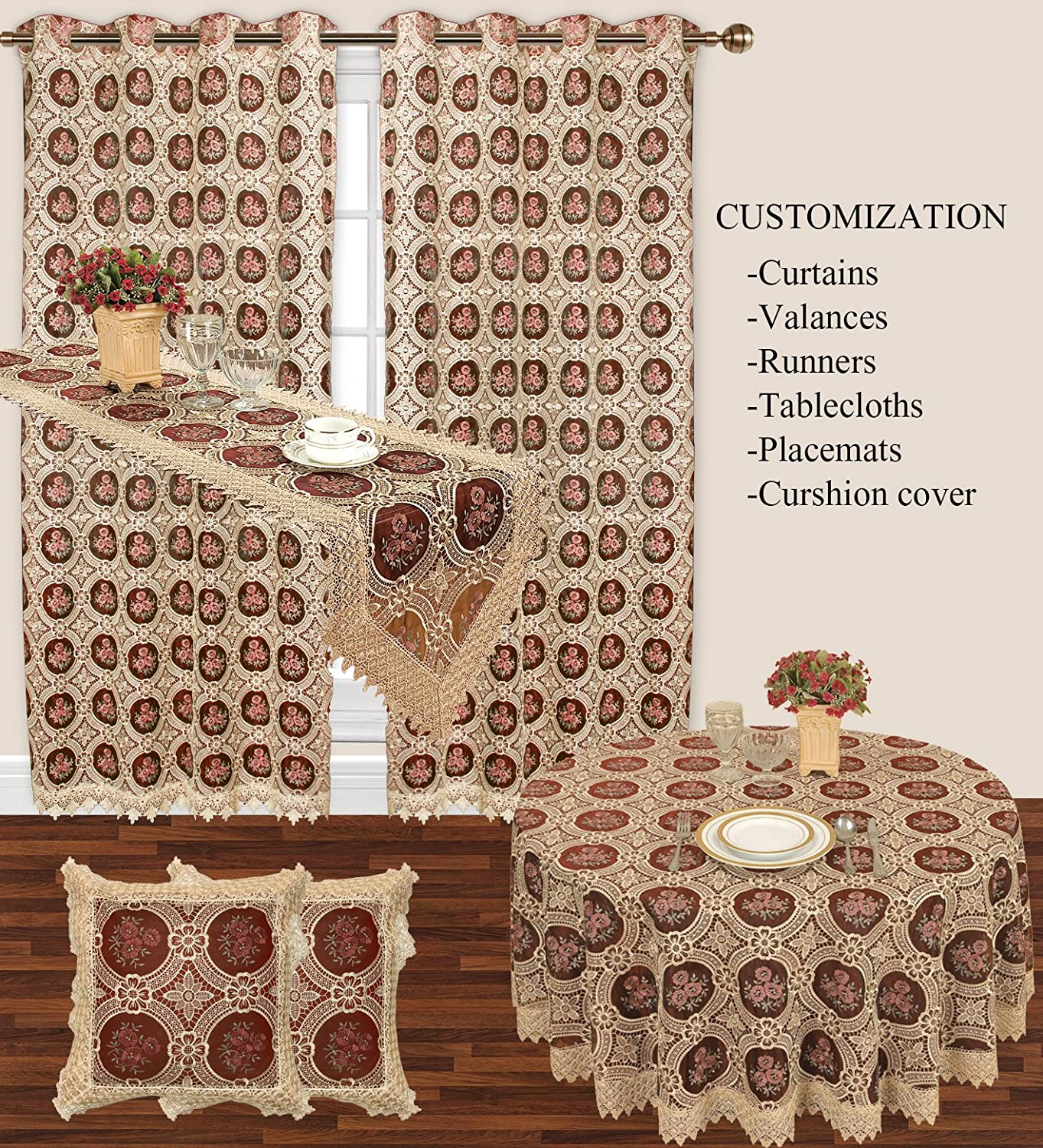 Amazon Simhomsen Small Vintage Burgundy Lace Tablecloth