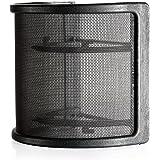 Neewer 10087294 - Maschera Ricurva per Microfono, Scoppio di filtro con elastici in Gomma, Nero