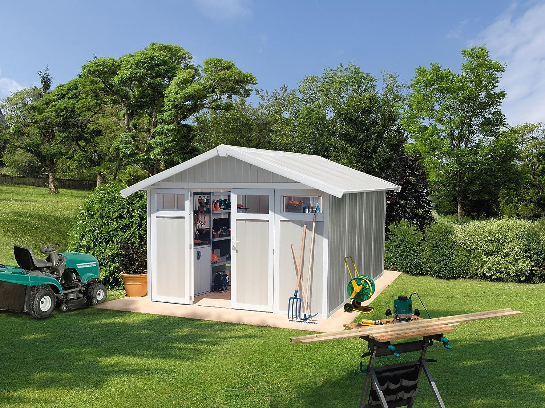 White// Grey /& Blue Grosfillex Utility Garden Shed 4.9 m2