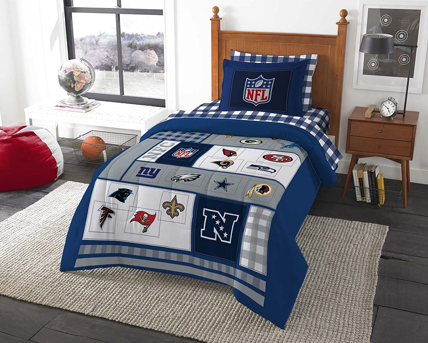 Nfl bedding for boys - Amazon Com Nfl Bedding Set Football Afc Vs Nfc Comforter Sheets And Sham Full Home Kitchen