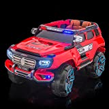 SPORTrax Rescue Kid's Ride On Fire SUV, Battery Powered, Remote Control w/FREE MP3 Player - Red