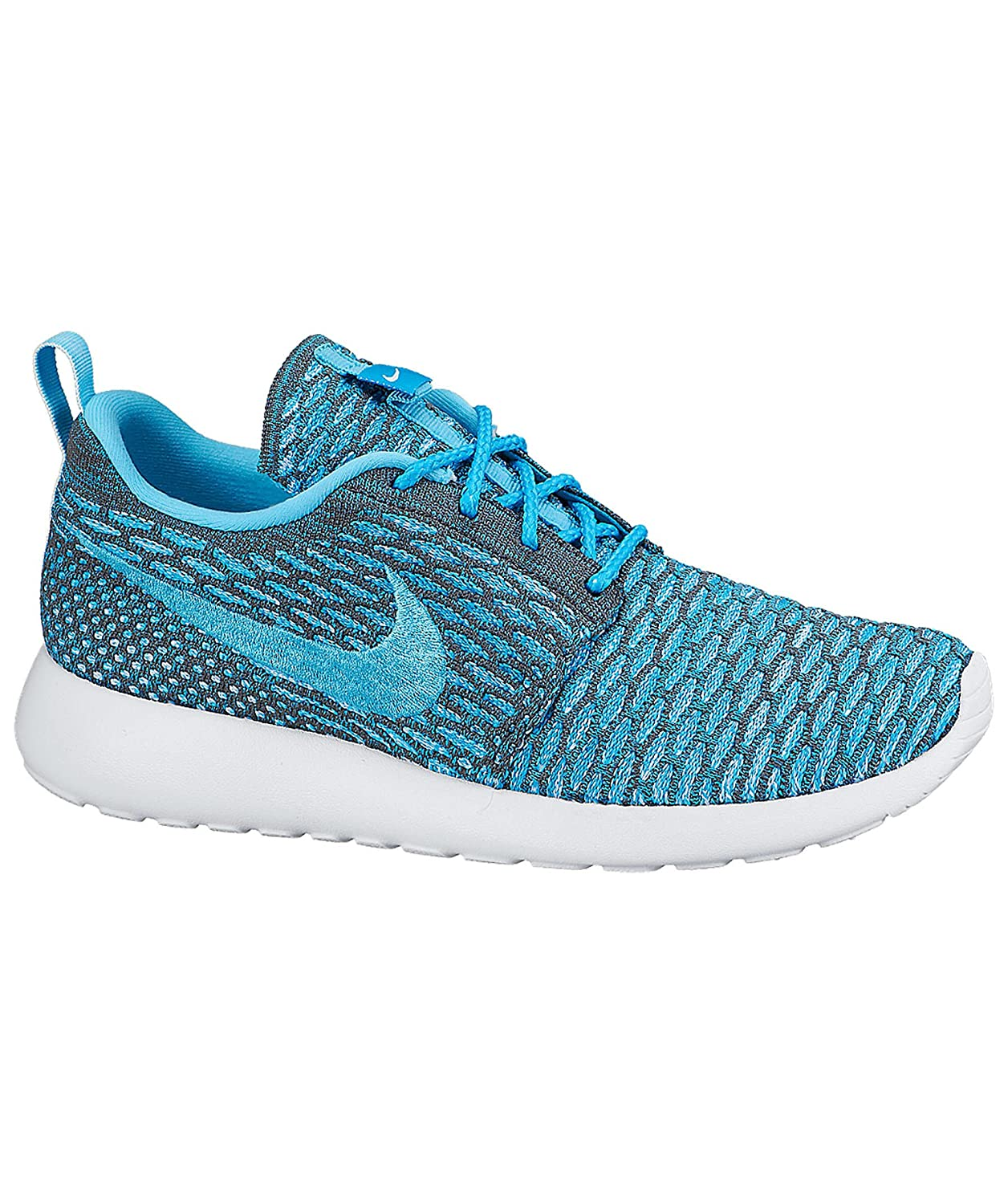NIKE Womens Roshe One Flyknit Flyknit Colorblock Running Shoes B00TS82HA6 10 D(M) US|Dark Grey/Clearwater/Blue Lagoon/White