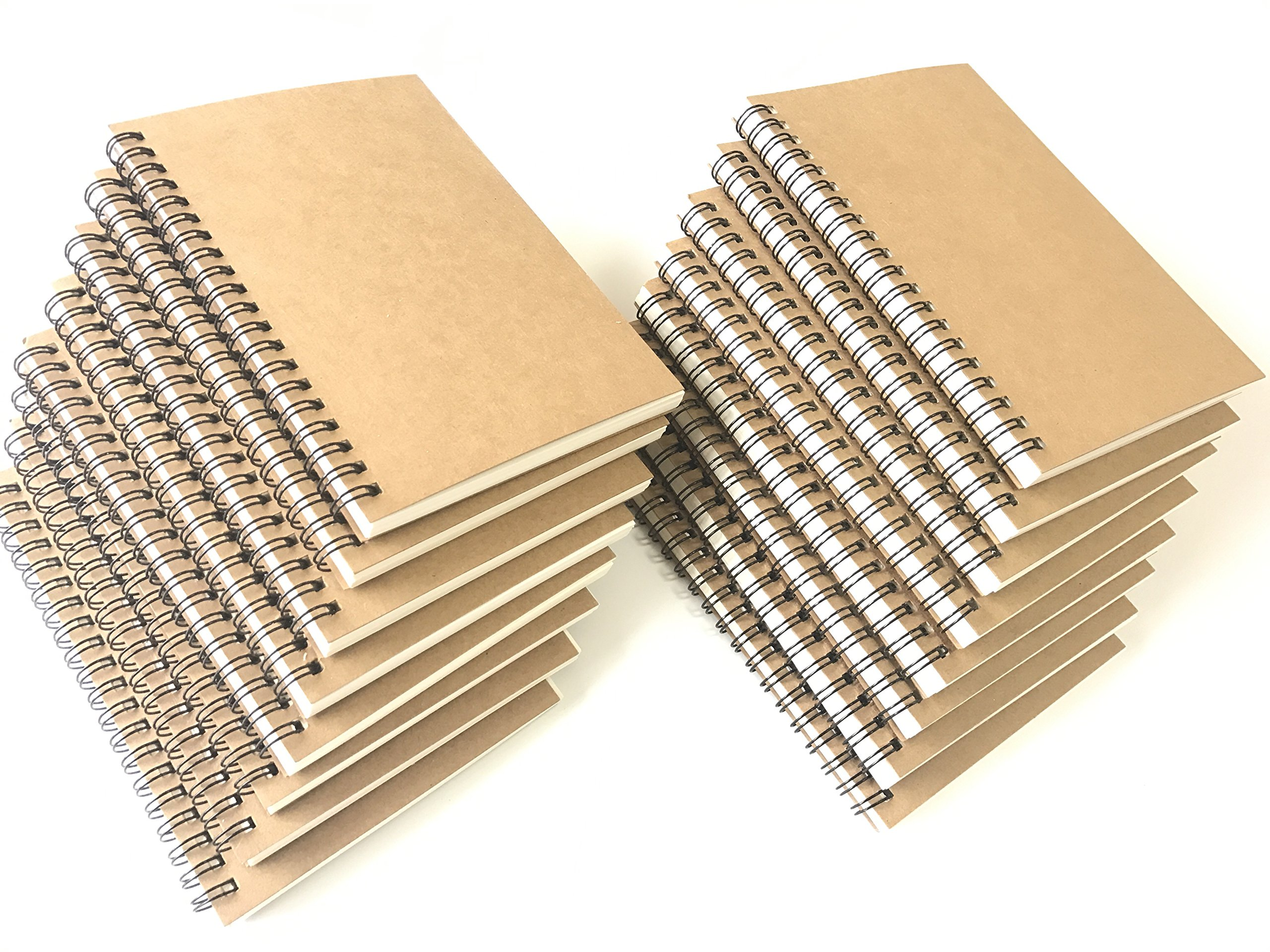 VEEPPO 16 Pack Bulk Notebooks and Journals Spiral Notebooks 4.7x7inch Small Sketch Books Mini Sketch Note Pads Kraft Cardboard Cover Thick Blank White Paper (White Page-Pack of 16)