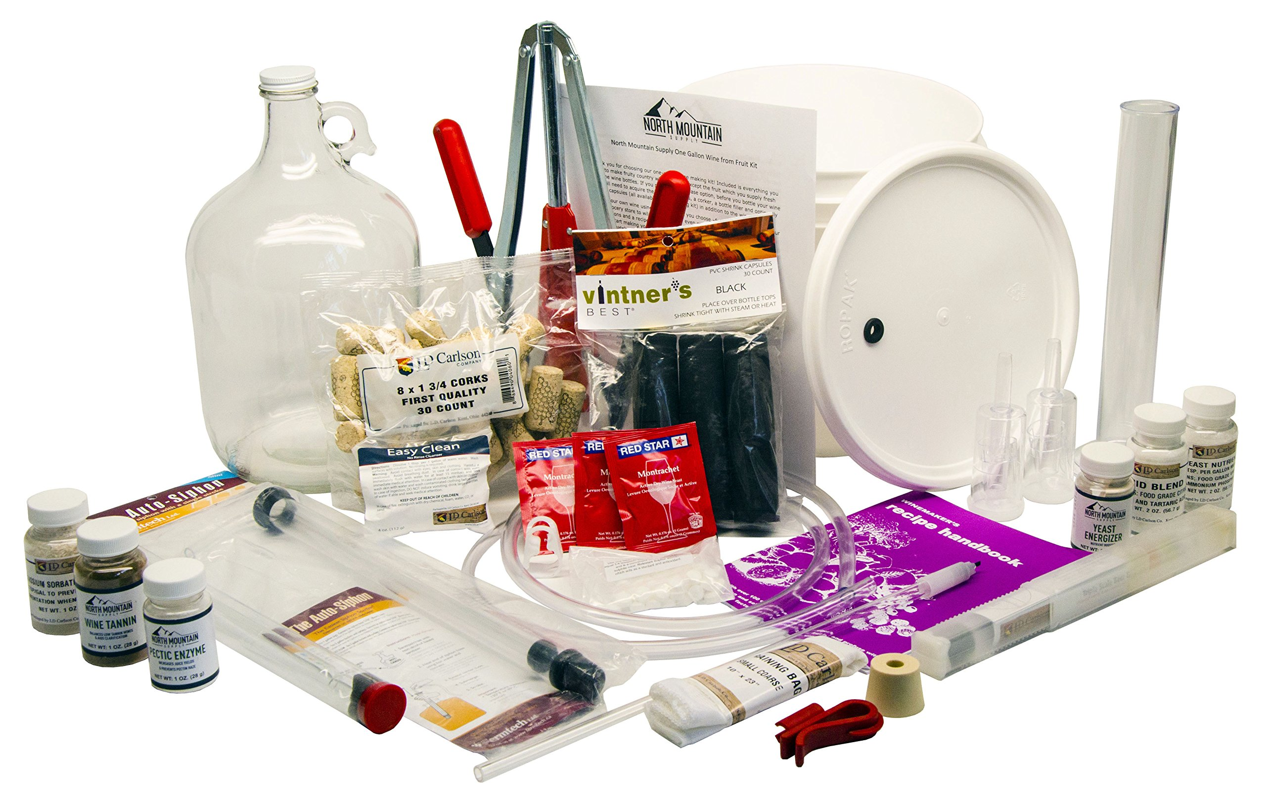North Mountain Supply 1 Gallon Wine from Fruit Complete 30pc Kit - Only Fruit & Bottles Required by North Mountain Supply