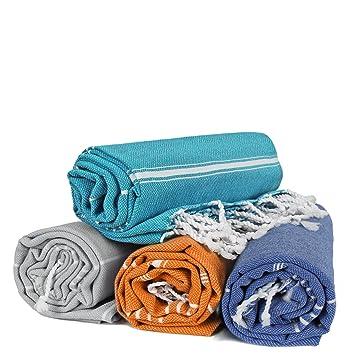 Turkuoise Peshtemal - Set of 4 - Genuine Flat Woven Turkish Towel - Pareo - Sarong - Picnic Blanket - Yoga Mat - Fouta (Coral, Turquoise, Grey, Royal ...