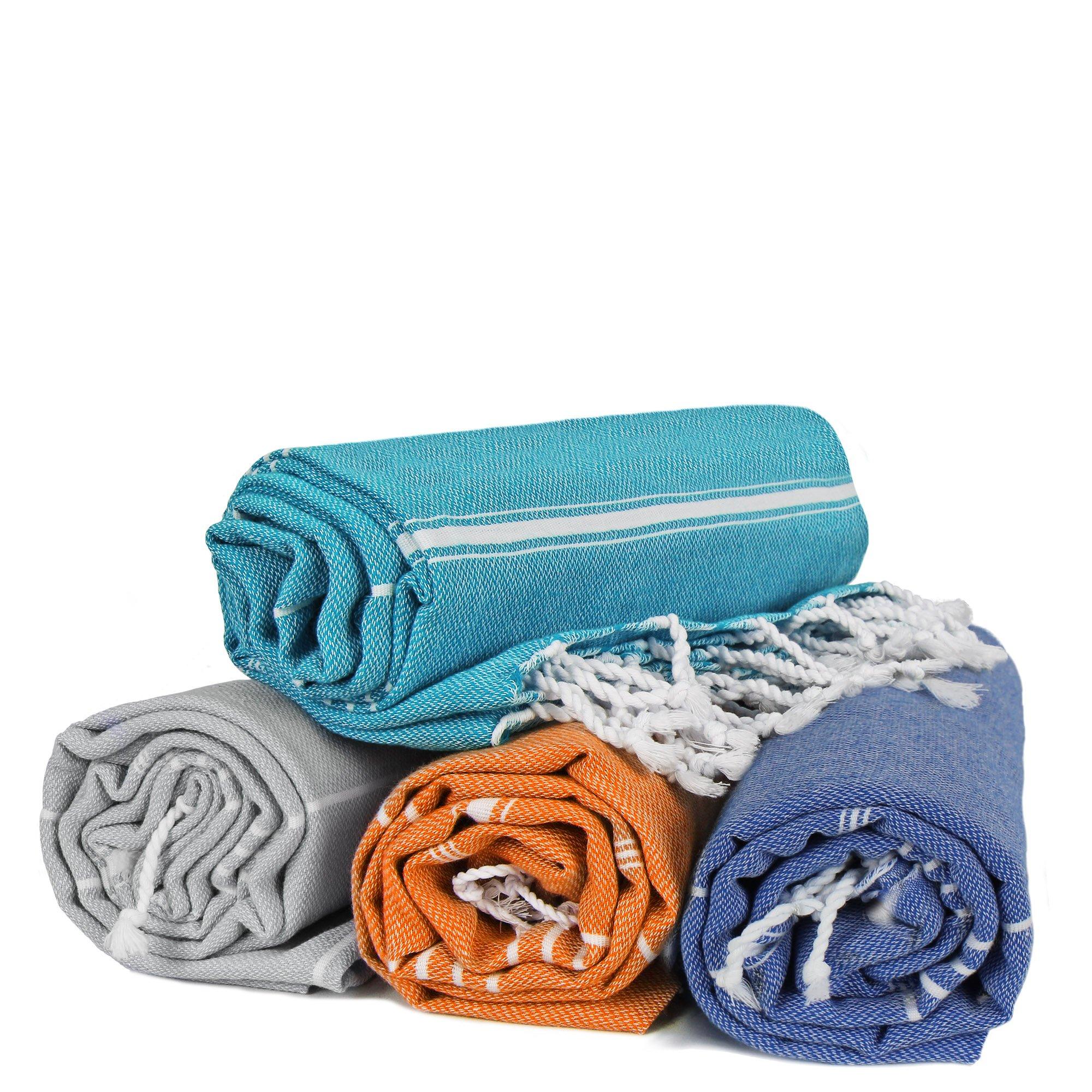 Turkuoise Peshtemal - Set of 4 - Genuine Flat Woven Turkish Towel - Pareo - Sarong - Picnic Blanket - Yoga Mat - Fouta (Coral, Turquoise, Grey, Royal Blue)
