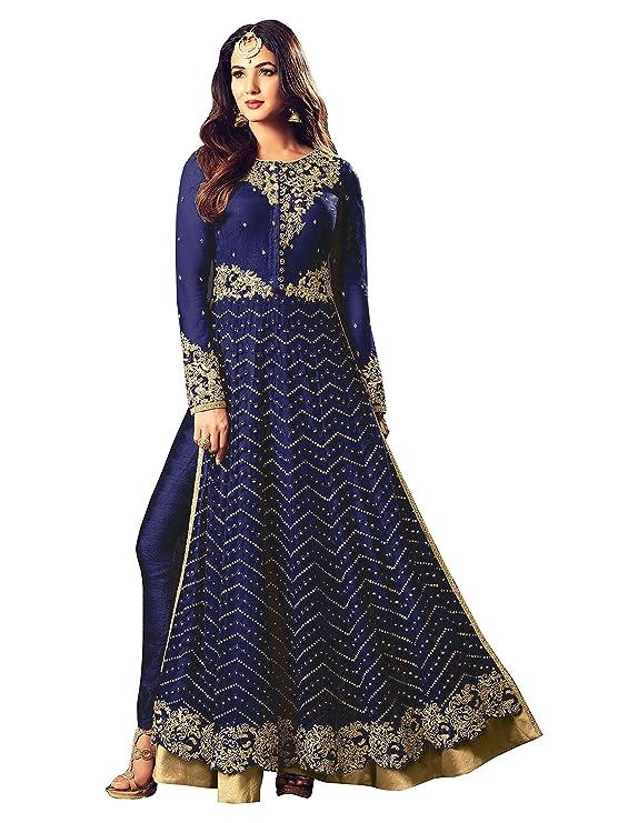 Ethnic Yard Semi-Stitched Free Size Latest Long Straight Net Anarkali Dress material Dress Material at amazon