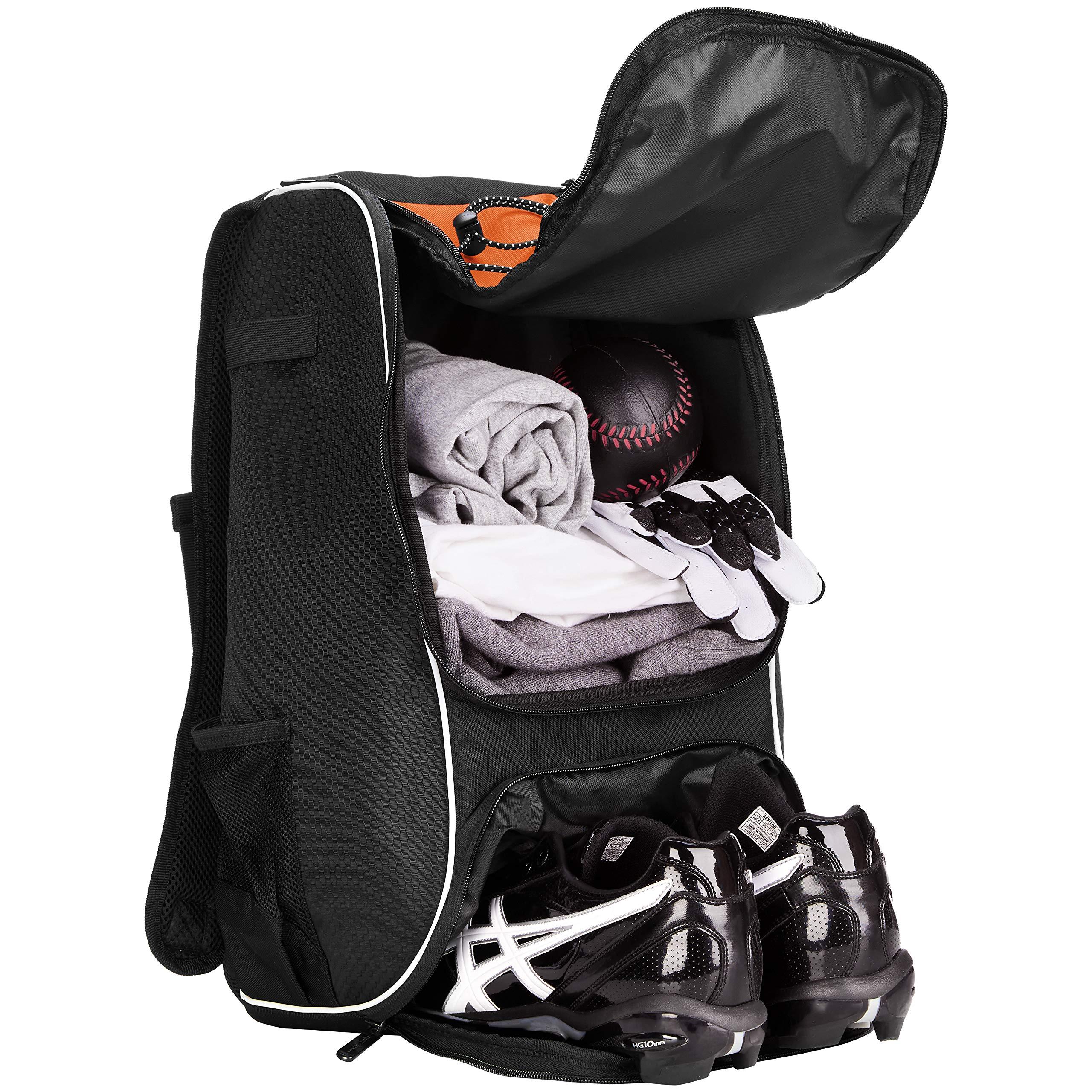 AmazonBasics Youth Baseball Equipment Backpack, Orange by AmazonBasics (Image #4)