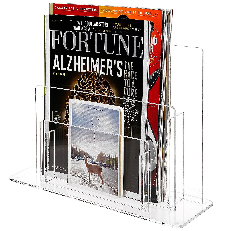 2 Tier Clear Acrylic Desktop Magazine & Paper Organizer/Commercial Brochure Display Rack - MyGift OP-8063
