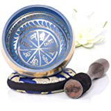Silent Mind ~ Ensemble de bols de chantant tibétain ~ Aspect Bleu ~ Avec maillet à double surface et coussin de soie ~ Favorise la paix, la guérison des chakras et la pleine conscience ~ Cadeau exquis