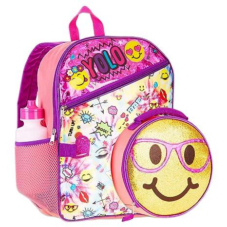 Girls Emoji Backpack 6 Piece Set NEW