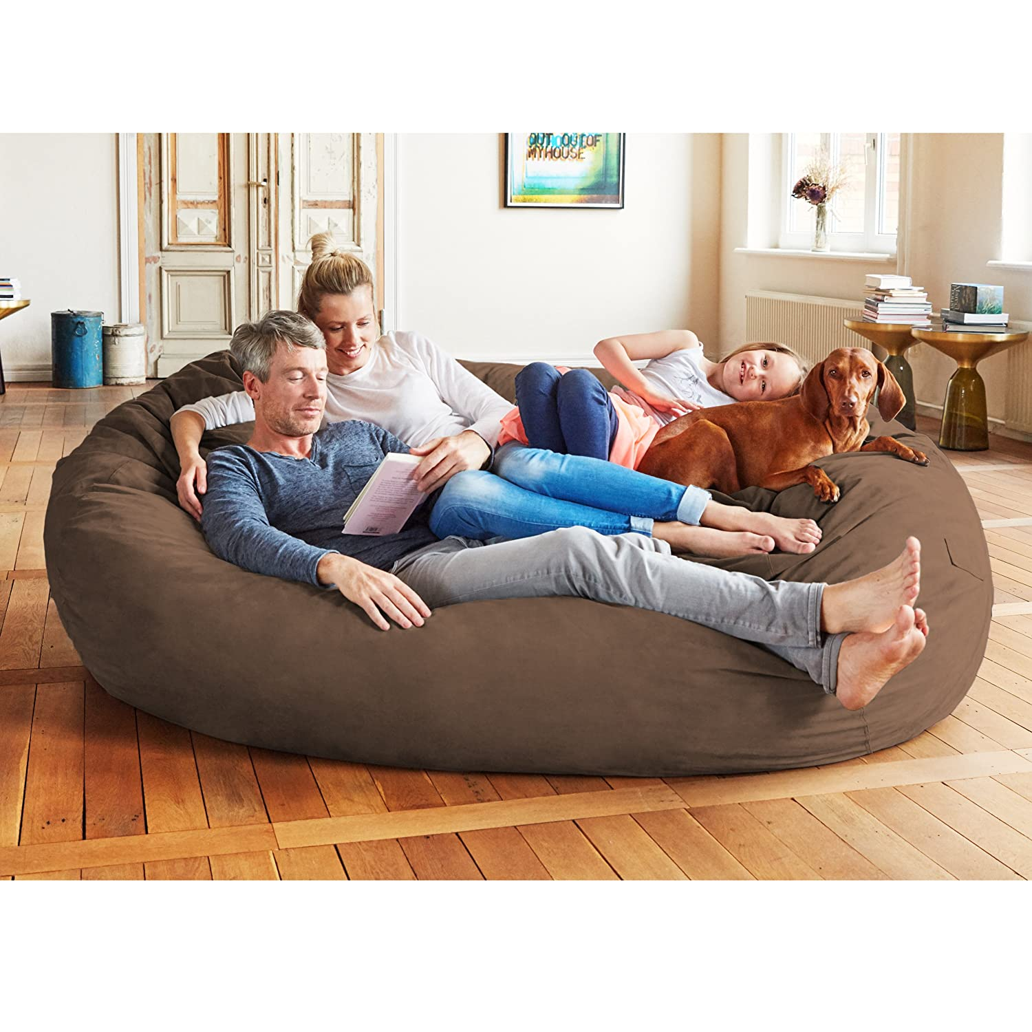 Amazon Lumaland Luxury 7 Foot Bean Bag Chair with Microsuede