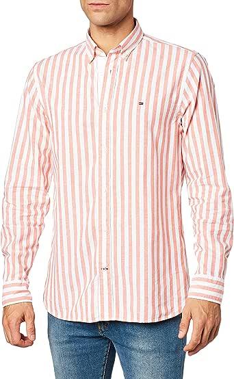 Tommy Hilfiger Cotton Linen Multi Stripe Shirt Camisa, Naranja ...