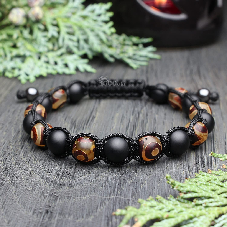 Mode tendance Bracelet Homme Style Shamballa Perles /Ø 8mm pierre naturelle Agate motif Tib/étain onyx mat noir fil nylon