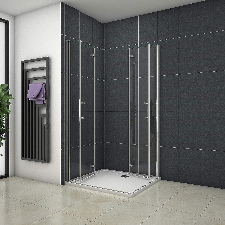 Mampara de ducha Angular Apertura de Puerta Plegable Antical 80x80cm: Amazon.es: Bricolaje y herramientas