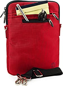 RED Mighty Nylon Jacket Slim Compact Protective Sleeve Shoulder Bag Case with Accessories for MSI WindPad 110W 10 inch Tablet Computer Windows 7 Netbook PC High Performance with Keyboard