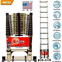Euro Telescopic Aluminium ladder 5 meter (17 feet) - Stores at 3.5 feet - New Tip N Glide Wheels & Ultra Stabilizer - Portable - Soft close