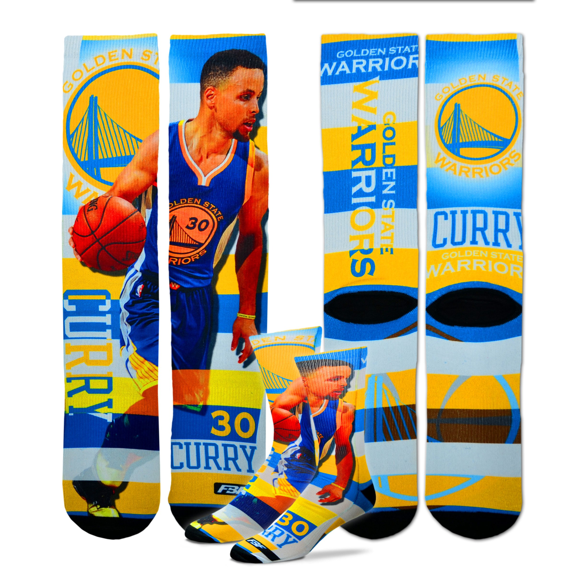 Golden State Warriors Youth Size Pro Stripe NBA Crew Kids Socks (4-8 YRS) 1 Pair - Stephen Curry #30 by For Bare Feet