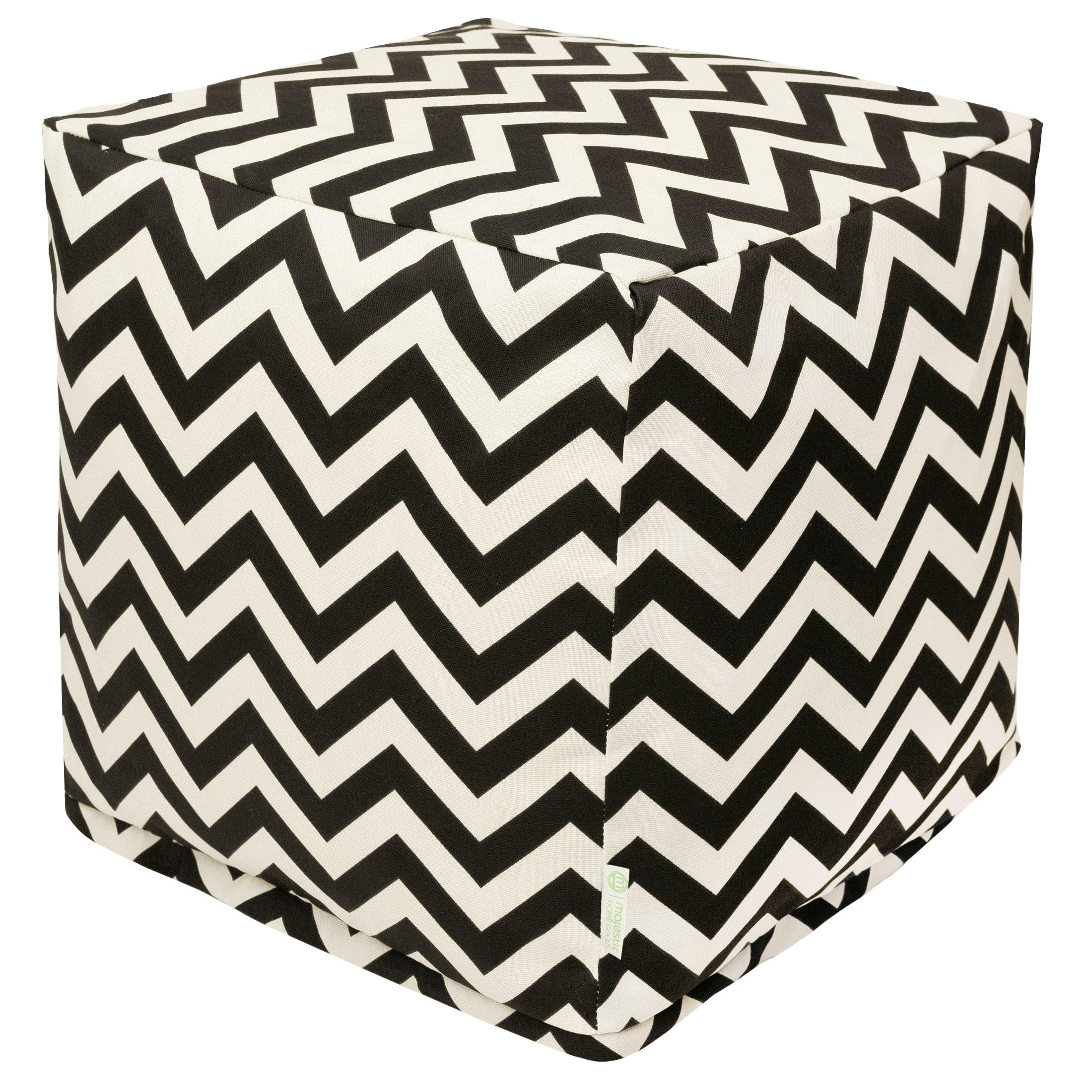 Majestic Home Goods Black Chevron Indoor/Outdoor Bean Bag Ottoman Pouf Cube 17'' L x 17'' W x 17'' H
