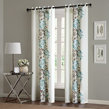 Amazoncom Madison Park Blue Curtains For Living Room Contemporary