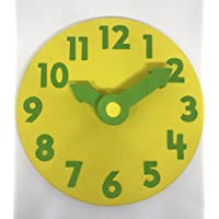 EduToys - Educational Time Learning Big Soft Clock for Kids Children - Size = 7 Inches (18 cms) (Yellow+Green)